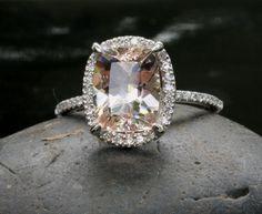 14k White Gold 9x7mm Morganite Engagement Ring by Twoperidotbirds, $1459.00