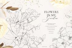 Line Art Flowers, Flower Art, Floral Drawing, Floral Watercolor, Watercolor Postcard, Png Floral, Floral Frames, Template Brochure, Line Art Vector