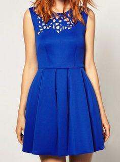 Blue Sleeveless Asymmetrical Hollow Pleated Dress ~  Cute