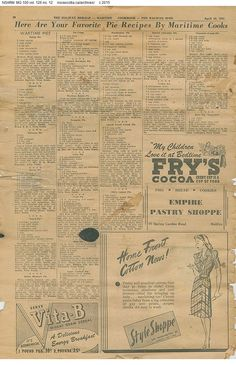 Pie recipes 1945. you can zoom in the page on th website. novascotia.ca