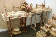 Wonderful display of old machines and tables,