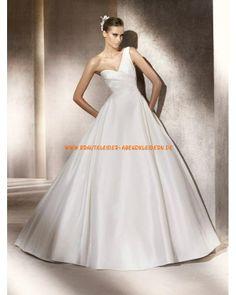 Zeitlose einschulter Brautkleider aus Satin A-Linie mit Schleppe 2013