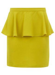 Yellow Creped Peplum Skirt by Dorothy Perkins