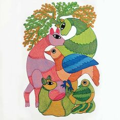 File Decoration Ideas, Gond Painting, Indian Folk Art, Indian Art Paintings, Tribal Art, Pencil Drawings, Projects To Try, Behance, Kids Rugs