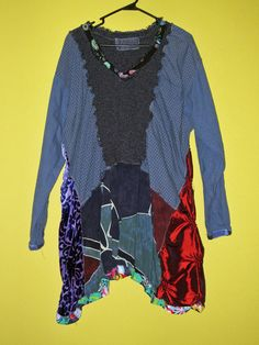 Funky Mixed Media Tunic fits Large to 4x