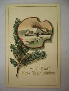 VINTAGE EMBOSSED NEW YEAR POSTCARD PEOPLE & DOG IN WINTER SCENE BY WATER