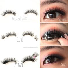 Monolid Make Up: Tutorial: How to Modify False Lashes for Asian Eyes Asian Makeup Tips, Eye Makeup Tips, Makeup Ideas, Korean Makeup, Makeup Tutorials, Eyeshadow Tutorials, Japanese Makeup, Makeup Hacks, Korean Skincare
