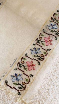 Hesap işi Cross Stitch Borders, Cross Stitch Flowers, Cross Stitch Designs, Cross Stitch Patterns, Hand Embroidery Design Patterns, Crochet Patterns, Crochet Bedspread, Linen Napkins, Bargello