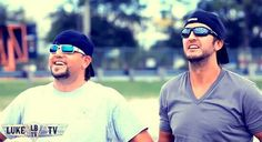 Jason Aldean and Luke Bryan...Both with backwards hats. ...oh my.