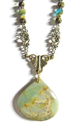 Buy Aqua Terra Stone Pendant by spiritracer. Explore more products on http://spiritracer.etsy.com