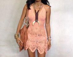 Cross Crochet Boho Dress with long Fringe/Off-White by SpellMaya