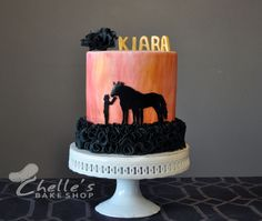 Horse silhouette cake. Pink and black fondant covered cake. www.facebook.com/chellesbakeshop Oswego, NY