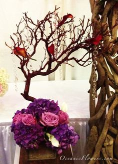 Purple and Violet Large Manzanita Tree Centerpiece with Hanging Crystals