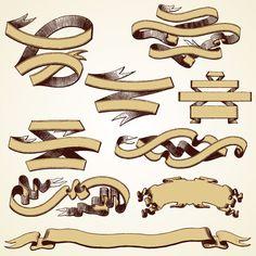 Different Vintage ribbon design vector