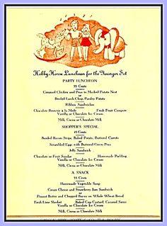 Children's Party Menu, Carson Pirie Scott Tea Room