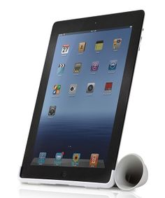 iPad stand with built-in acoustic speaker. Simple and effective.