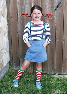 How to make a DIY Pippi Longstocking Costume - including the hair tutorial for those famous pigtail braids! #MichaelsMakers