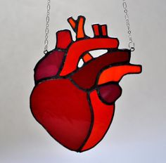 Stained Glass ANATOMICAL HEART SunCatcher window by VereGlassCo, $22.00