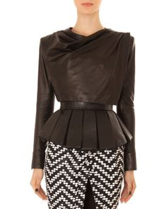 Leather Drape-Neck Crop Top by Balmain at Neiman Marcus.