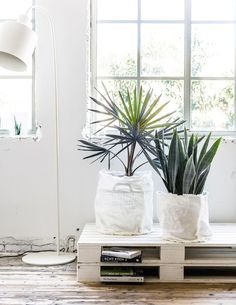 Love This Simple Diy Planter For Displaying Your Plants And Hiding Not So Attractive Pots. A Great Idea For Book Storage Using Wooden Palettes Too Vtwonen Photography: Sjoerd Eickmans Styling: Moniek Visser Diy Simple, Easy Diy, Interior Styling, Interior Design, Indoor Plant Pots, Deco Floral, Diy Planters, Deco Design, Home And Deco