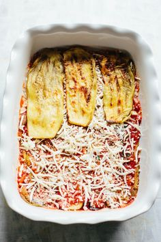 This recipe for Unbreaded Eggplant Parm is a healthier, gluten free version of my Mom's eggplant parm that's actually more authentic than the original! Cream Of Broccoli Soup, Kale Soup, Baked Eggplant, Eggplant Parmesan, Wine Recipes, Food Network Recipes, How To Prepare Eggplant, Potato Candy, Paleo Banana Bread