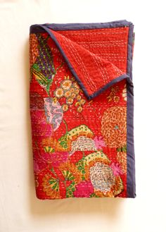 Red Kantha Quilt // Queen Bedspread // Coverlet on Etsy, $113.38