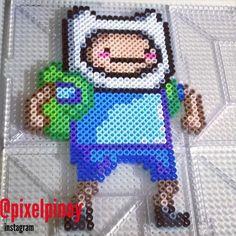Finn - Adventure Time perler beads by pixelpinoy