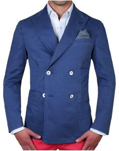 ScalperS - Double breasted blue blazer, nacre button