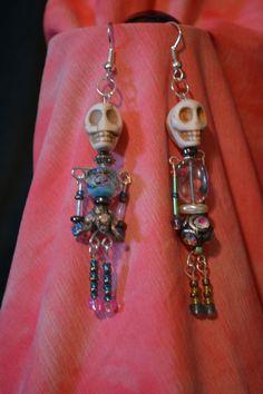 """Funky """"Dancing"""" Beaded Skeleton Earrings on Etsy, $15.00"""
