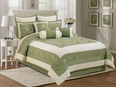 7pcs Green Beige Chrysanthemum Embroidery Comforter Set Bed in a Bag Cal King