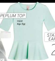click for all our spring picks - including this lovely mint peplum top $35