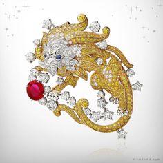 VCA. Zodiac Set Leo clip, Palais de la chance collection - yellow gold, yellow diamonds, white gold, diamonds, sapphires and one oval-cut ruby of 3.09 carats. #VCA #VanCleef&Arpels #2012 #ZodiacClip #HauteJoaillerie #HighJewellery #FineJewelry #Sapphire #Ruby #YellowDiamond #Diamond