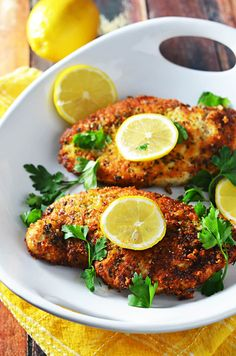 5 ingredient breaded lemon chicken - this citrusy, bright chicken takes jus Real Food Recipes, Soup Recipes, Dinner Recipes, Healthy Recipes, Chard Recipes, Gf Recipes, Lemon Recipes, Cooker Recipes, Healthy Meals