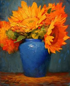 Sunflowers and Blue, painting by artist Justin Clements