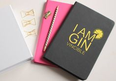 Gin gift,  I am Ginvincible Notebook in real gold foil, Gin Journal, Can be Personalised, Pink White or Black with REAL GOLD  FOIL by BeauAndBellaUK on Etsy https://www.etsy.com/uk/listing/570281531/gin-gift-i-am-ginvincible-notebook-in