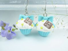 Eat Me Bow Cupcake Earrings Blue  Food Jewelry food by beadpassion, $15.00