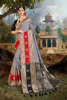 Alluring woven banarasi saree! Indian heritage is rich in textile culture and one of the most beautiful sarees is banarasi. Be the center of focus in occasions by wearing this gorgeous Shark grey zari woven banarasi saree From ghats of Banaras These sarees are woven in those mesmerising alleys of Banaras and has that authentic charm and eternal comfort when you hug them!  It is perfect to flaunt in any wedding! Length - 6.3 meters Blouse piece - 0.8 meters Shipping time -10 to12 business days Fa Beautiful Saree, Most Beautiful, Silk Sarees With Price, Indian Heritage, Wedding Sutra, Banarasi Sarees, Designer Sarees, Saree Blouse Designs, Saree Wedding
