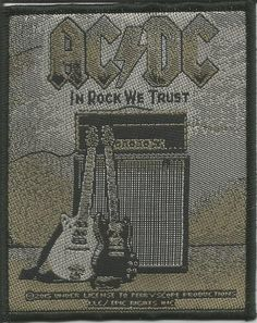 AC/DC In Rock We Trust Woven Patch Sew On Official Band Merch