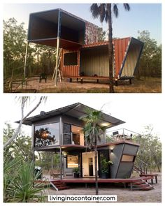 The Magnificent Hideaway Litchfield Container Cabin in Nature - Australia - Living in a Container Building A Container Home, Container Buildings, Container House Plans, Container Store, Tiny House Cabin, Tiny House Living, Eco Cabin, Shipping Container Home Designs, Shipping Containers