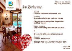 Special Saint Valentine 2014 menu, La Boheme restaurant Bellavista Residential  http://bellavistaresidencial.es/