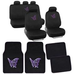 FH Group erfly Embroidery Full Set Auto Seat Covers with Solid ...