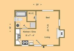 """CozyHomePlans.com 320 sq ft Tiny House Floor Plan """"Granite Mountain"""" Floor Plan with Sizes 