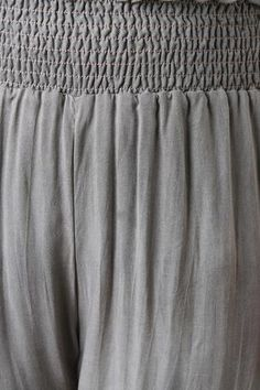 Shirred Elastic Waist Wide Leg Pants