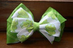 Froggy Hair Bow by MariasBowTique on Etsy, $3.75