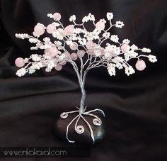 Rose fleur de cerisier rose arbre en fil mini cristal