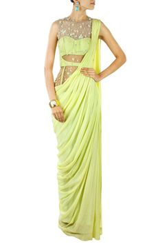 Lime green floral embroidered pre stitched sari-gown BY SONAAKSHI RAAJ.