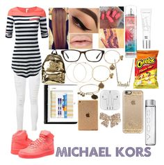 """""""School"""" by jazzy0725 ❤ liked on Polyvore featuring Frame Denim, NIKE, Moschino, Forever 21, Sugar Paper, Paper Mate, Michael Kors, Alex and Ani, Beauty Rush and Wet Seal"""