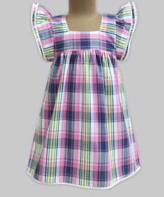Another great find on #zulily! Candy Pop Madras Check Angel-Sleeve Dress - Infant, Toddler & Girls #zulilyfinds