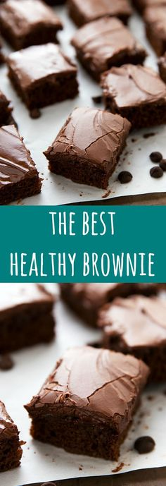 The BEST healthy brownies with no flour, no refined white sugar, no butter, and no eggs. These delicious brownies are easy to make and include an optional frosting recipe made using Greek yogurt! # healthy sweets The Best Healthier Brownies (Video) Healthy Deserts, Healthy Sweets, Healthy Dessert Recipes, Healthy Baking, Delicious Desserts, Healthier Desserts, Healthy Chocolate Desserts, Healthy Cake, Heathy Cookie Recipes