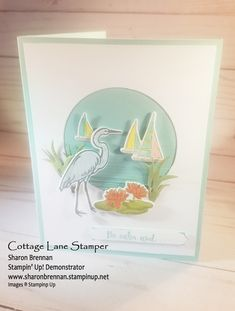 From the 2018-2019 Stampin' Up! catalog Lilypad Lake Featuring the heron, lilypad, sailboats and grasses.  A very versatile set!   www,sharonbrennan.stampinup.net